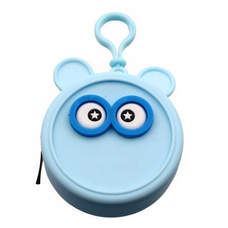 Portofel tip breloc, pentru maruntis, din silicon, model ochi, 8.5 x 3.5 cm, Bleu