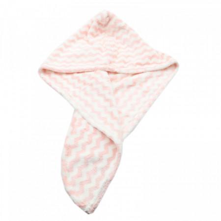 Prosop pentru uscat parul, cu un nasture pentru fixare, pentru adulti, model zig-zag, 65 x 26 cm, Roz