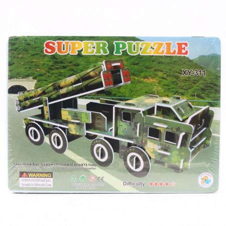 Puzzle 3D carton, masina de armata cu aruncatoare de rachete