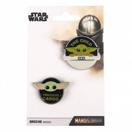 Set 2 insigne, The Mandalorian, The Child, Star Wars, 4 cm