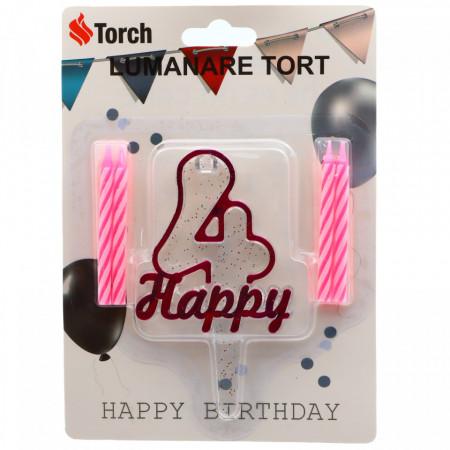 Set 4 buc, Lumanare aniversara,cu suport in forma de Cifra 4, pentru tort, Roz