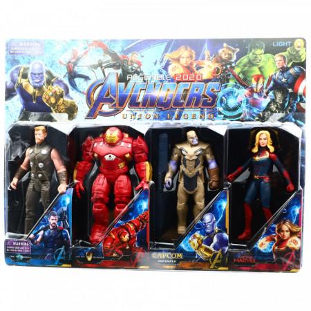 Set 4 Figurine Avengers, Captain Marvel, Thanos, Iron Man, Thor