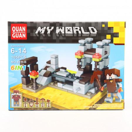 Set de constructie Lego, Lumea de lut tip Minecraft, 105 Piese