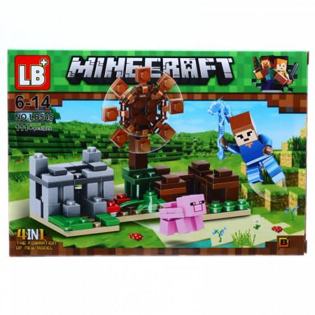 Set de constructie, Lumea Minecraft si porcusorul fermecat in Eliria, 111 piese