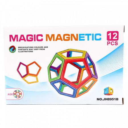 Set de constructie magnetic educativ si distractiv pentru copii - compune diferite forme geometrice 3D, 12 Piese