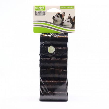 Set pungi igienice pentru caini, 6 x 15 bucati, Negru