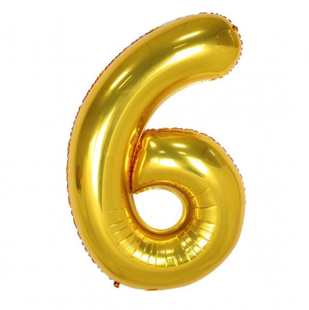 Balon din folie metalizata, 80 cm, cifra 6, Auriu