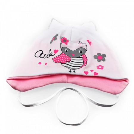 Caciula pentru fetite, cu imprimeu bufnita si urechi, +6 luni, Alb