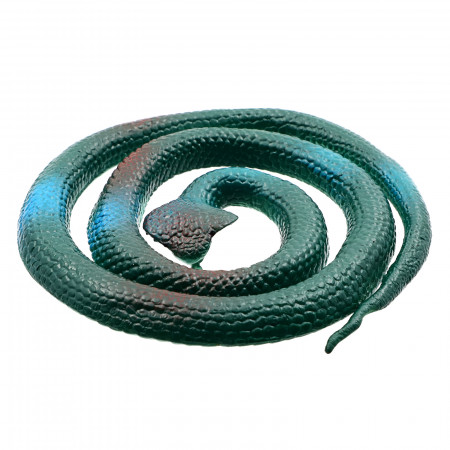 Figurina, Sarpe King Cobra de jucarie, imitatie real, Verde inchis, 80 cm