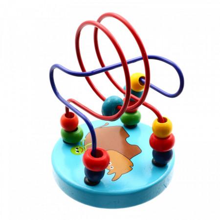 Joc educativ, Carusel cu bile din lemn, Albastru, + 1 an,12 x 9 cm