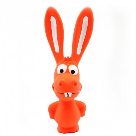Jucarie pentru animale de companie, forma iepure, cu sunet, Portocaliu 17 cm