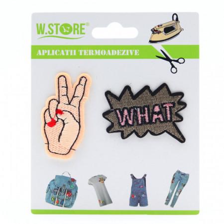 Petic textil / patch brodat What cu mana in semnul pacii