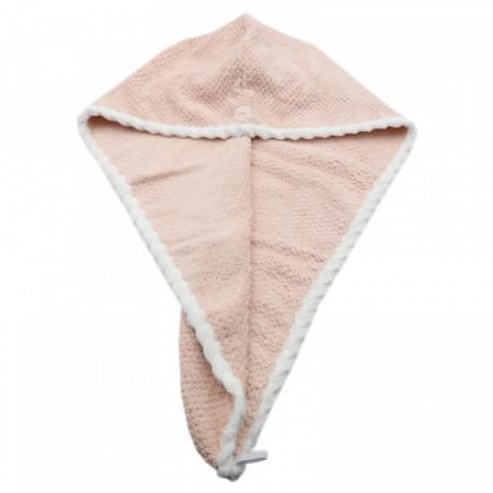 Prosop pentru uscat parul, cu un nasture pentru fixare, pentru adulti, 65 x 26 cm, Bej