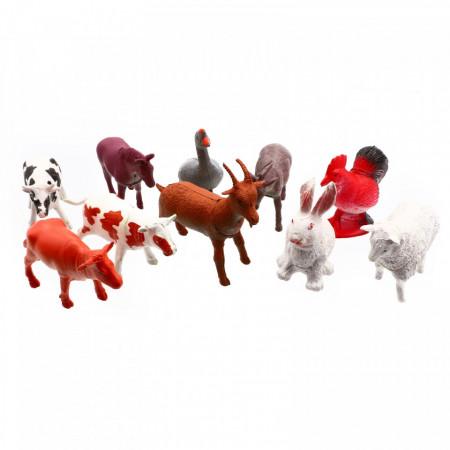 Set 10 figurine, Ferma mea, Vaca, Iepure, Cal, Cocos, Rata, Magar, Oaie