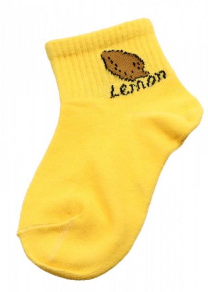 Set 2 bucati, Sosete pentru copii, cu imprimeu Lemon, 7-9 ani, Galben