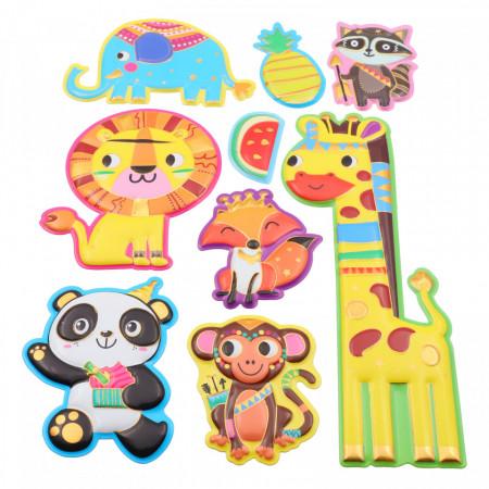 Set Sticker 3D pentru copii, Animale, decor camera, 9 piese, JJ-FD001, Multicolor