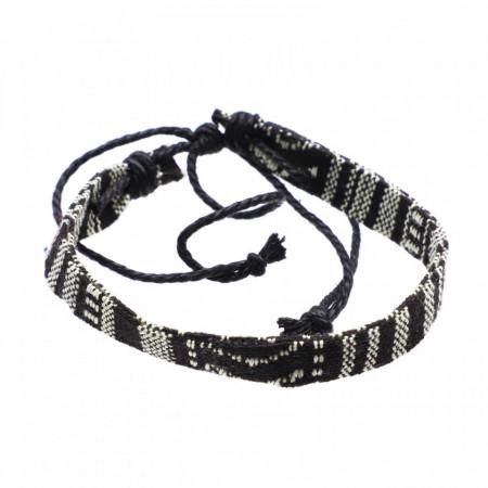 Bratara de dama din material textil, Negru si Alb, 16 cm