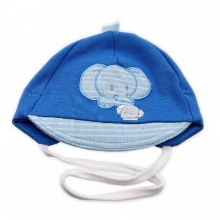 Caciulita pentru bebelusi, cu cozoroc si imprimeu Elefant, 0-3 luni, marime 38, Albastru