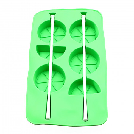 Forma de silicon pentru inghetata pe bat, model felii de lamaie, Verde, 20.3 x 12 x 2 cm