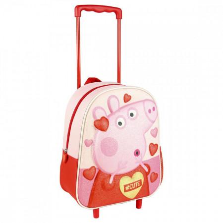Ghiozdan Peppa Pig cu maner si roti pentru copii, 26 x 31 x 10 cm