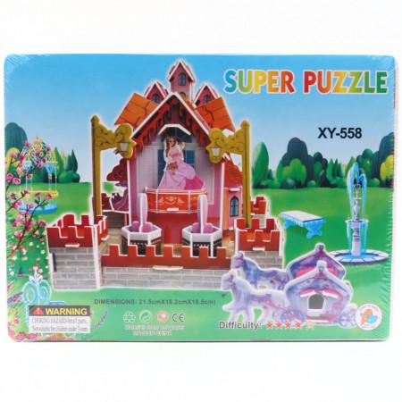 Puzzle 3D carton, casuta printeselor