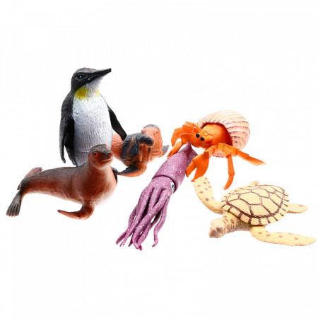 Set 6 Animale marine, Pinguin, Foca, Morsa, Broasca testoasa, Rac, Caracatita