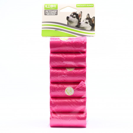 Set pungi igienice pentru caini, 6 x 15 bucati, Roz