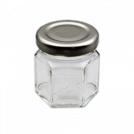 Borcan din sticla cu capac, hexagonal, 4.3 x 5 cm, 45 ml