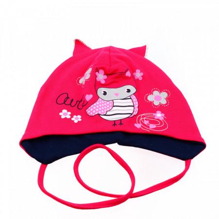 Caciula pentru fetite, cu imprimeu bufnita si urechi, +6 luni, Roz