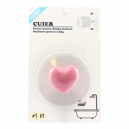 Cuier pentru baie in forma de inima, Roz