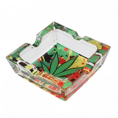 Scrumiera din sticla, patrat, model frunza de canabis verde, 7.8 x 2.6 cm, Multicolor