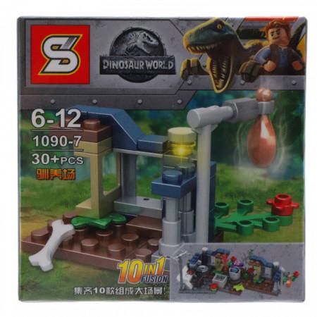 Set de constructie, Lumea dinozaurilor si capcana cu mancare, 30 piese