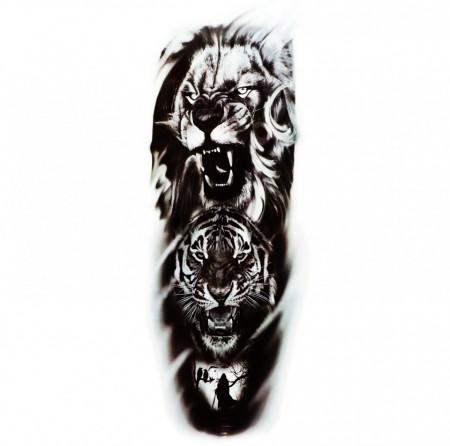 Tatuaj temporar, Leu si Tigru, QB064, 43 x 14 cm