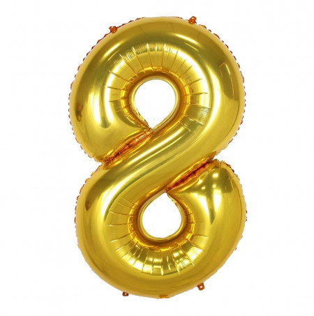 Balon din folie metalizata, 80 cm, cifra 8, Auriu