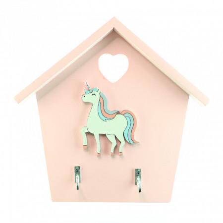 Cuier pentru chei, model casuta din lemn cu unicorn, Roz