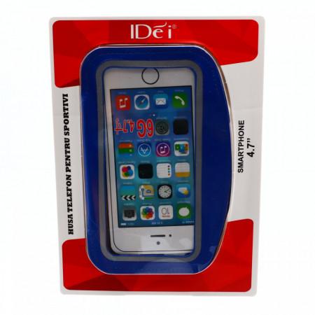 "Husa de telefon tip banderola brat / mana pentru alergat, sala, bicicleta, 4.7"", 14.5 x 7 cm, Albastru"