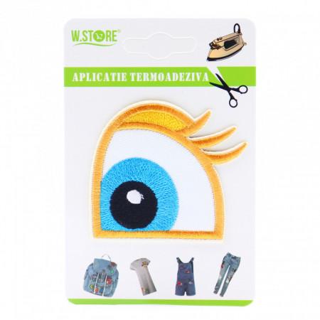 Petic textil / patch brodat ochi albastru, 6 cm x 6 cm