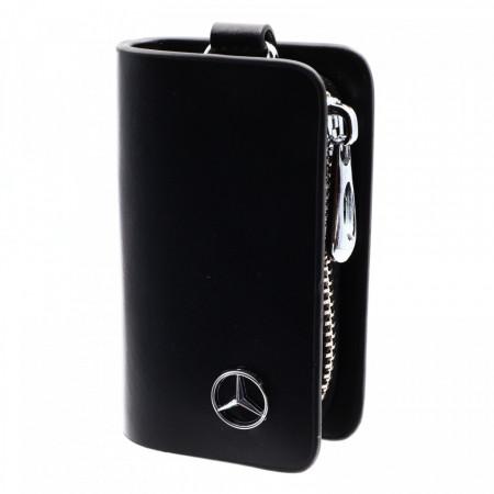 Portofel pentru cheie auto, sigla Mercedes, tip breloc, piele, cu fermoar, 10 x 6 x 2.5 cm, Negru