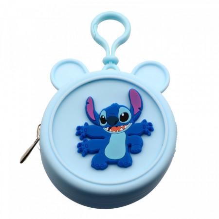 Portofel tip breloc, pentru maruntis, din silicon, model Stitch, 8.5 x 3.5 cm, Bleu