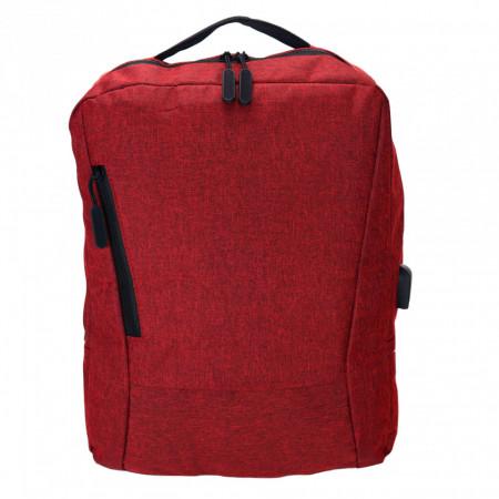 Rucsac Laptop pentru Barbati, cu cablu USB si port extern inclus, Rosu Grena