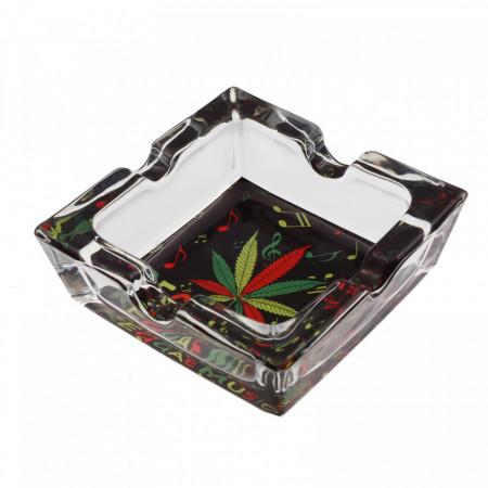 Scrumiera din sticla, patrat, model frunza de canabis cu note muzicale, 7.8 x 2.6 cm, Multicolor