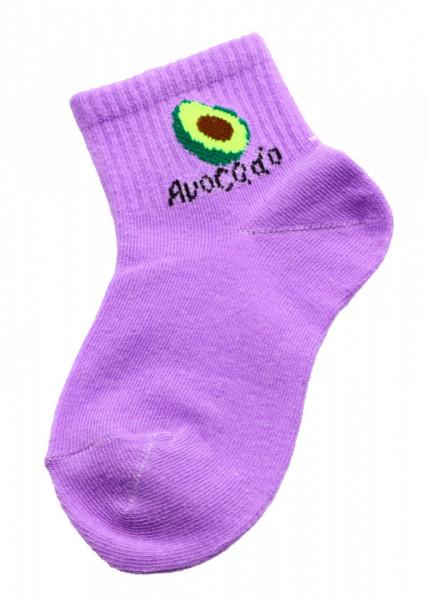 Set 2 bucati, Sosete pentru copii, cu imprimeu Avocado, 4-6 ani, Mov