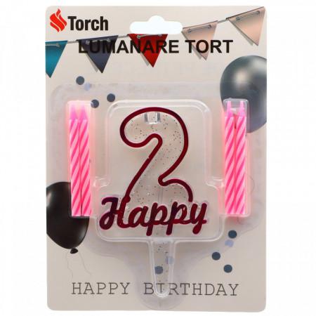 Set 4 buc, Lumanare aniversara,cu suport in forma de Cifra 2, pentru tort, Roz