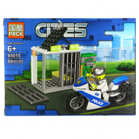 Set de constructie, tip City Police, Motocicleta de politie si bancomat, 69 piese