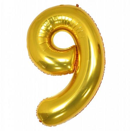 Balon din folie metalizata, 80 cm, cifra 9, Auriu