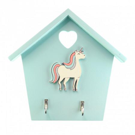 Cuier pentru chei, model casuta din lemn cu unicorn, Bleu