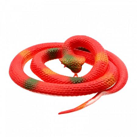 Figurina, Sarpe King Cobra de jucarie, imitatie real, Rosu, 80 cm