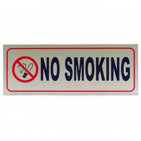 Indicator metalic autoadeziv, No Smoking, 24 x 9 cm