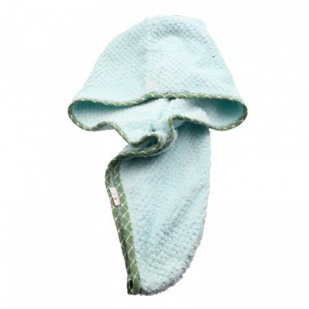 Prosop pentru uscat parul, cu un nasture pentru fixare, pentru adulti, 60 x 20 cm, Verde