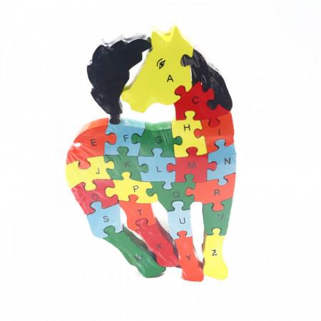 Puzzle din lemn cu litere si cifre, Cal, 26 piese
